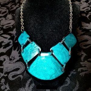 Vintage Aqua Plastic Stone Necklace